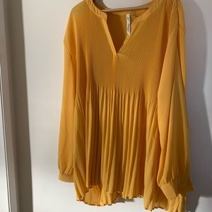 NY collection yellow pleated blouse tunic size 2X